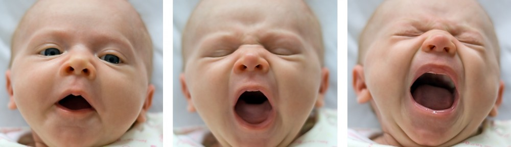 One month old yawning infant (a girl) - triptych